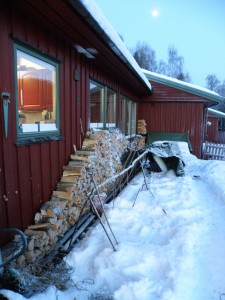 Wood piled up against our house