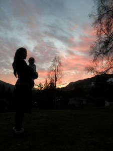 Sunset with mother and child