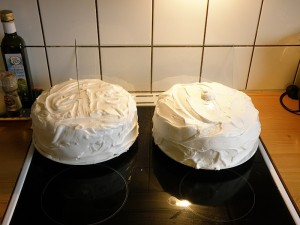 On the left is a gluten free cake, on the right the 'normal' Winter Solstice Cake (aka Christmas Cake).