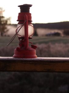 Oil lamp covered in frost