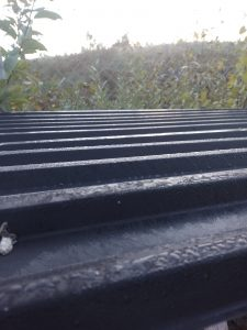 Frost on the corrugated roof of one of our woodsheds
